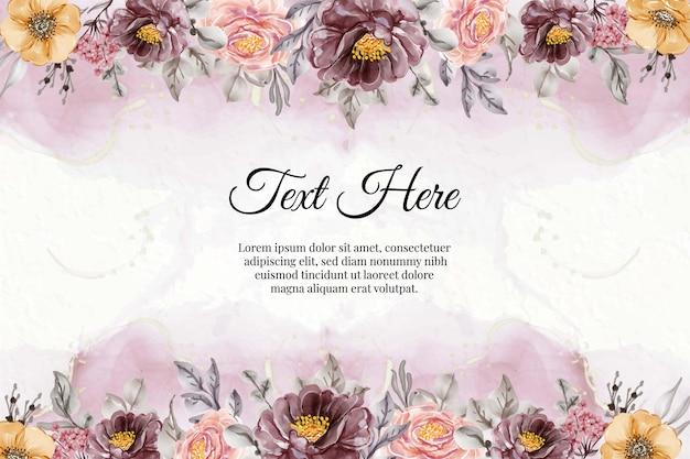Kwiatowy akwarela różowy fioletowy vintage