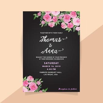 Kwiatowy akwarela zaproszenie na ślub w czarnym tle