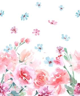 Kwiatowy bezszwowe granic akwarela z różami, styl vintage, akwarela ilustracji wektorowych.
