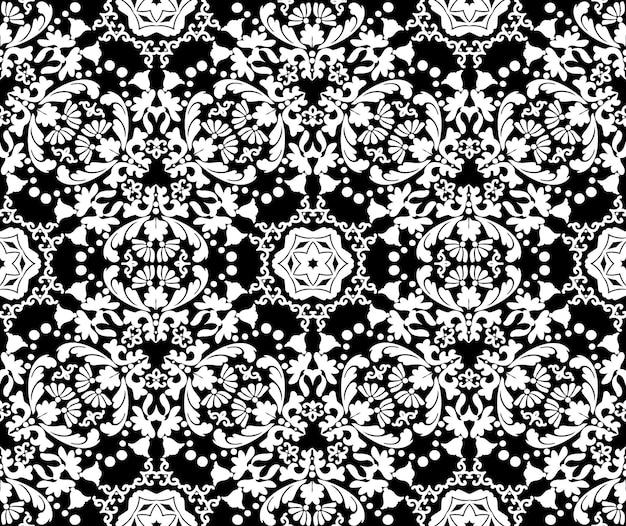 Kwiatowy biały dekoracyjny wzór na czarnym tlebezszwowe wektor wzór w stylu barokowym