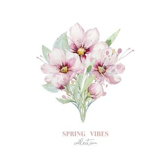 Kwiatowy bukiet akwarela wiśni kwiat wiśni. wiosenne kwiaty