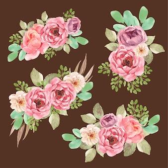 Kwiatowy bukiet z kwitnącą miłością projekt akwarela ilustracja