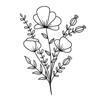 Kwiatowy bukiet zarys rysunek linia wektor ilustracja izolowany na białym tle