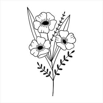 Kwiatowy bukiet zarys rysunku linia wektor ilustracja