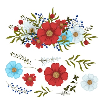 Kwiatowy clipartów czerwony, jasnoniebieski, białe pojedyncze kwiaty i liście