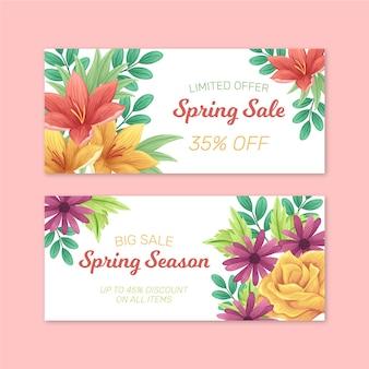 Kwiatowy duży ręcznie rysowane sprzedaż wiosna transparent