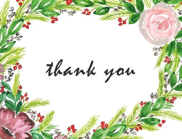 Kwiatowy dziękuję kartkę z życzeniami w stylu przypominającym akwarele
