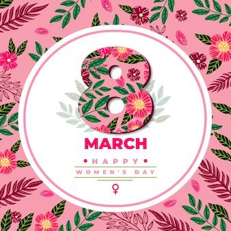 Kwiatowy dzień kobiet z kwiatami i datą