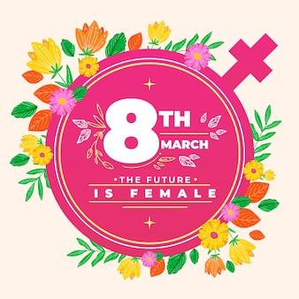 Kwiatowy dzień kobiet z symbolem kobiet