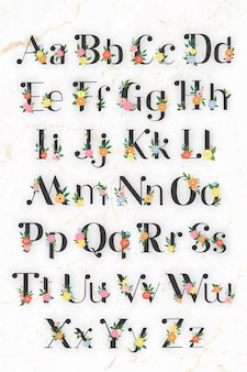 Kwiatowy elegancki alfabet napis wektor zestaw