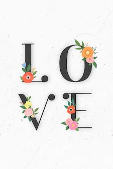 Kwiatowy elegancki napis miłosny
