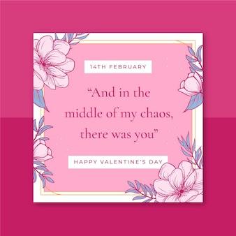 Kwiatowy elegancki walentynkowy post na instagramie