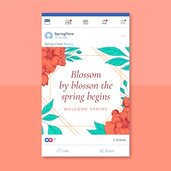 Kwiatowy elegancki wiosenny post na facebooku