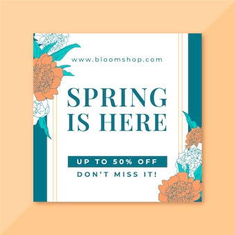 Kwiatowy elegancki wiosenny post na instagramie