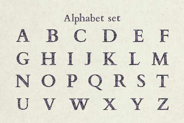 Kwiatowy fioletowy alfabet list wektor zestaw na beżowy
