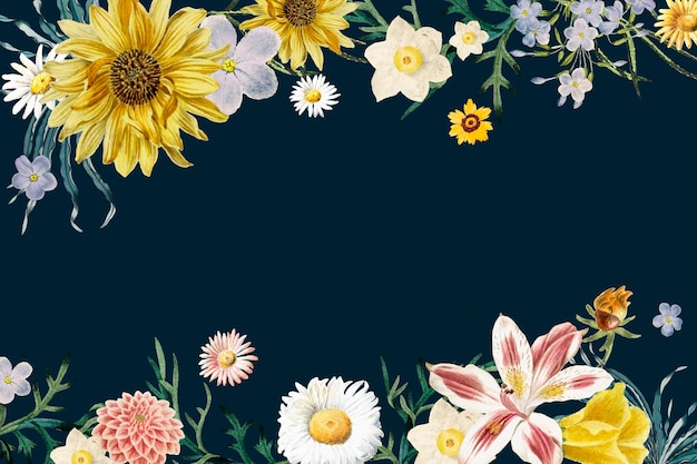 Kwiatowy granicy rocznika rama wektor