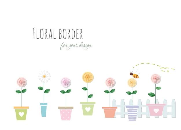 Kwiatowy granicy z róż i rumianek w doniczki