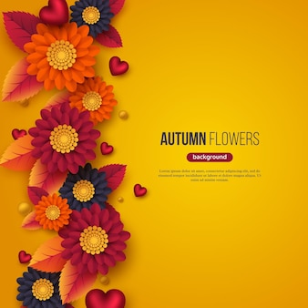Kwiatowy jesień tło z 3d kwiaty w stylu cięcia papieru, liście i ozdobne serca. kolory żółty, pomarańczowy, fioletowy, ilustracji wektorowych.