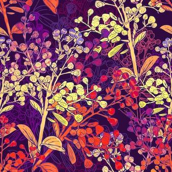 Kwiatowy kolorowy bezszwowe tło z oddziałów