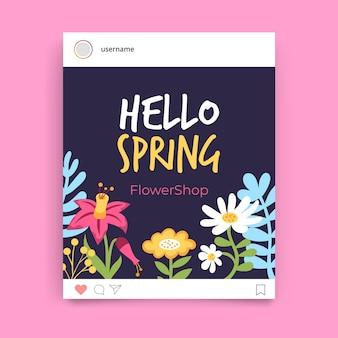 Kwiatowy kolorowy wiosenny post na instagramie