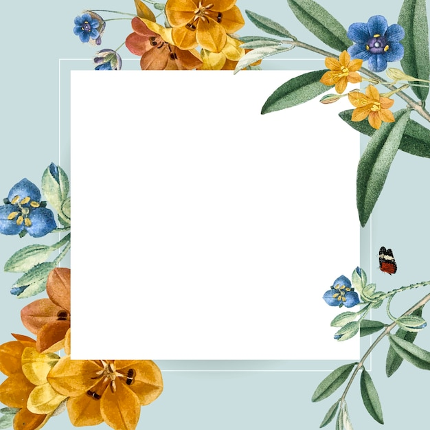 Kwiatowy kwadratowy projekt ramki