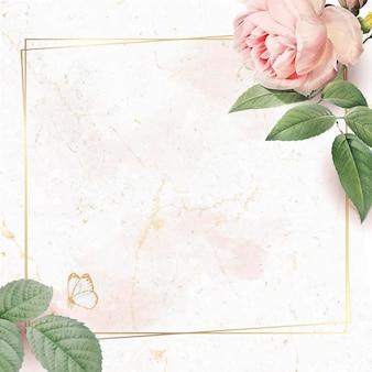 Kwiatowy kwadratowy wektor złotej ramki