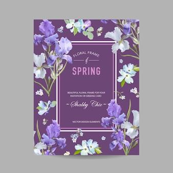 Kwiatowy kwiat wiosna rama z fioletowymi kwiatami tęczówki