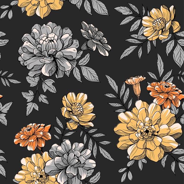 Kwiatowy, kwiaty, wzór. ilustracji wektorowych. tkanina, tkanina, kwiatowy wzór powierzchni