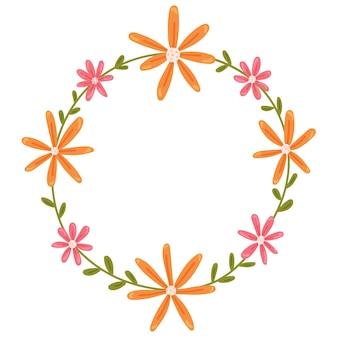 Kwiatowy lato okrągła rama wektor na białym tle ozdoba wiosenna