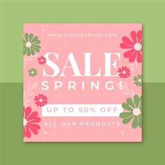 Kwiatowy minimalistyczny wiosenny post na instagramie