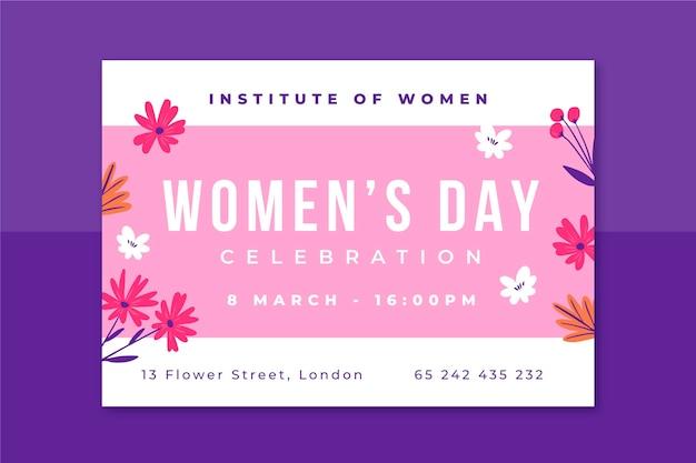 Kwiatowy minimalistyczny zaproszenie na dzień kobiet