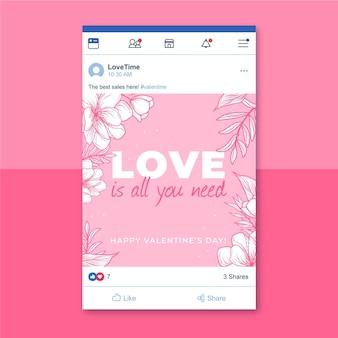 Kwiatowy monokolorowy walentynkowy post na facebooku
