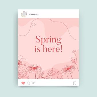 Kwiatowy monokolorowy wiosenny post na instagramie