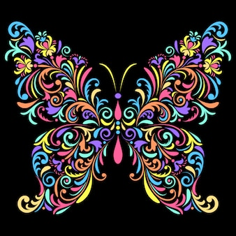 Kwiatowy motyl na czarnym tle
