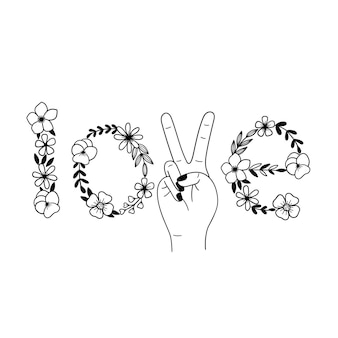 Kwiatowy napis love kwiatowy symbol pokoju znak pokoju polne kwiaty w kształcie miłości