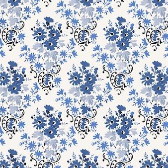 Kwiatowy niebieski styl vintage tło