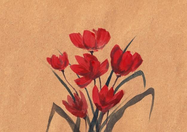 Kwiatowy obraz natury z akwarelą