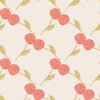 Kwiatowy ogród wzór z czerwonymi różami sylwetki. pastelowe różowe tło. ilustracji. projekt wektor dla tekstyliów, tkanin, prezentów, tapet.