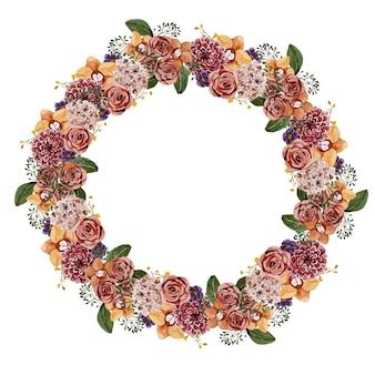 Kwiatowy okrągły wieniec z kwiatów akwarela