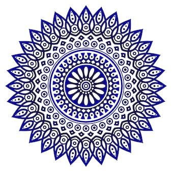 Kwiatowy okrągły wzór, okrągły dekoracyjny ornament w stylu vintage