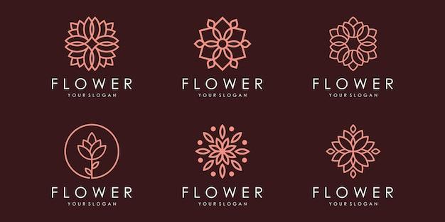 Kwiatowy ornament logo i zestaw ikon. wektor szablonu projektu.