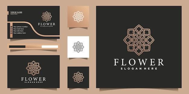 Kwiatowy ornament logo w stylu sztuki dwóch linii, złoty gradient premium wektor