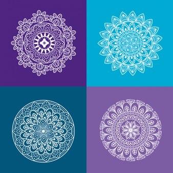 Kwiatowy ornament mandali ustawić ikony w fioletowym i niebieskim tle, luksus vintage, ozdobne dekoracje