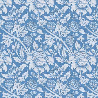Kwiatowy ornament niebieski wzór tła