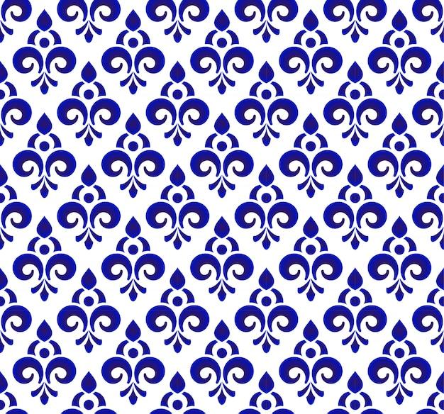 Kwiatowy ornament tło w stylu adamaszku, bez szwu niebieski i biały wzór królewski