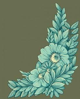 Kwiatowy ornament w ramce z wygrawerowanym wzorem
