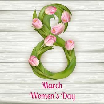 Kwiatowy ósemkowy dzień kobiet z tulipanem.