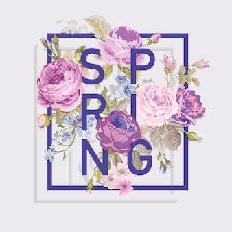 Kwiatowy projekt graficzny wiosny na tshirt