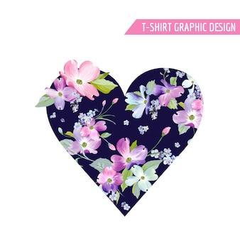 Kwiatowy projekt graficzny wiosny serca z kwiatami derenia do modnego druku