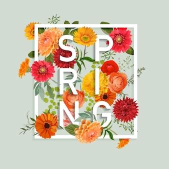 Kwiatowy Projekt Graficzny Wiosny Z Kolorowymi Kwiatami Premium Wektorów